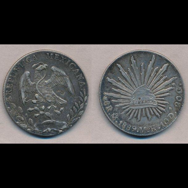 1889, Mexico, 8 real, CMark, 1++