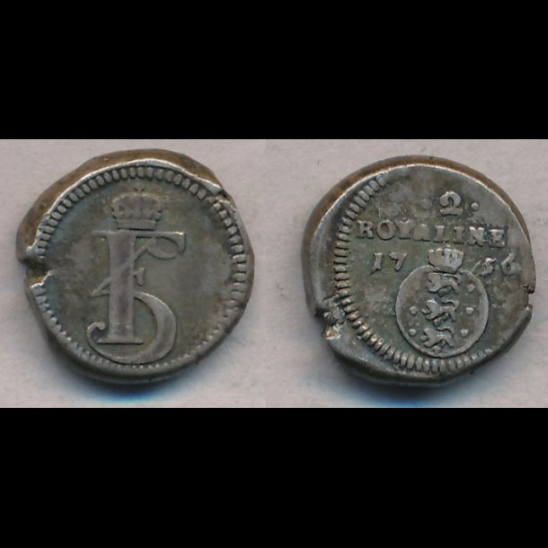 1756, Frederik V, Trankebar, 2 royaliner, sølv, S70