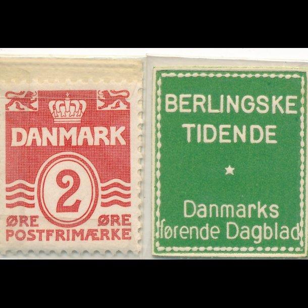 1941-45, Frimærkepenge, Berlingske Tidene, 2 øre,