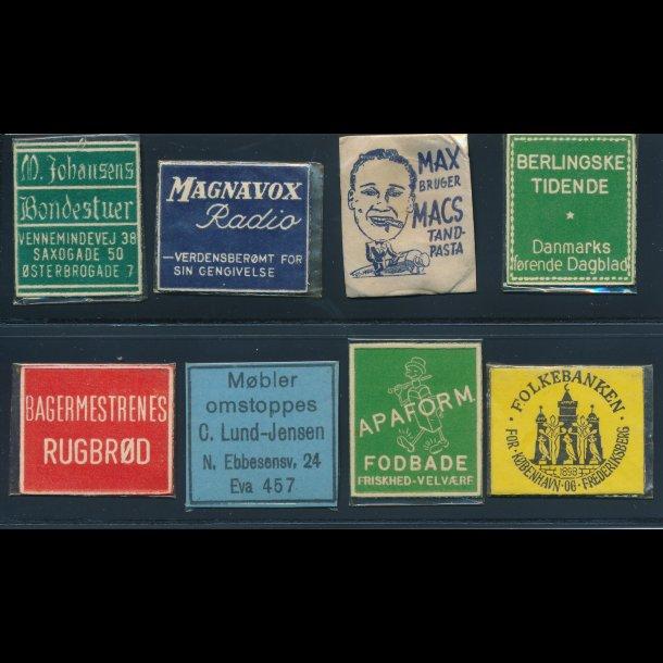1941-45, Frimærkepenge, 1 øre, 8 forskellige (fpaa)