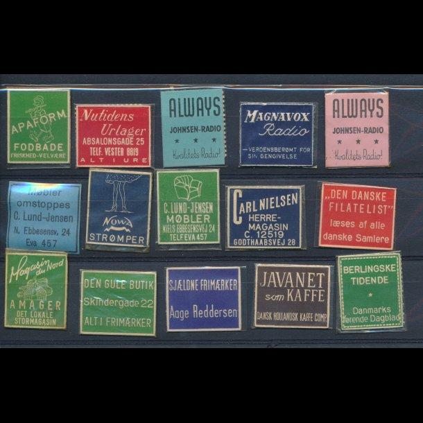 1941-45, Frimærkepenge, 1 øre, 15 forskellige (FP15)