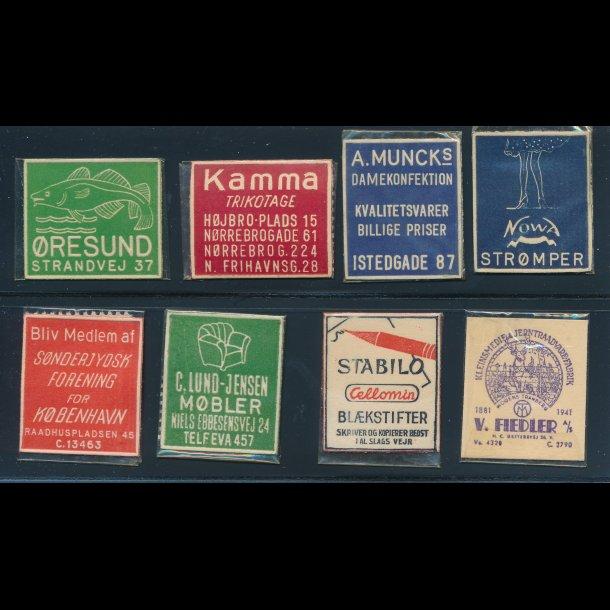 1941-45, Frimærkepenge, 1 øre, 8 forskellige (FPCC)