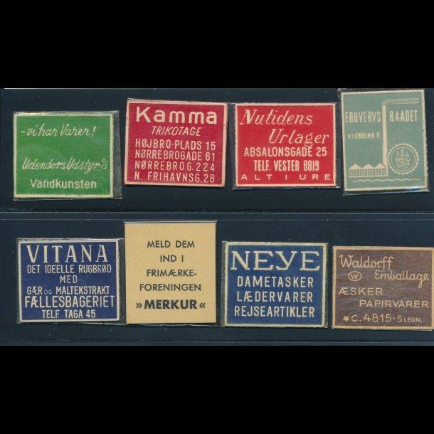 1941-45, Frimærkepenge, 1 øre, 8 forskellige (FPBB)