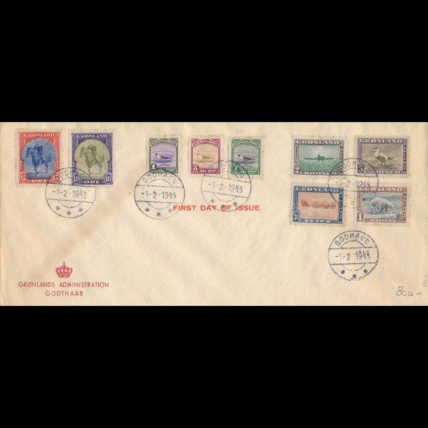 .8-16, Første dags kuvert, 1945, stemplet Godhavn,
