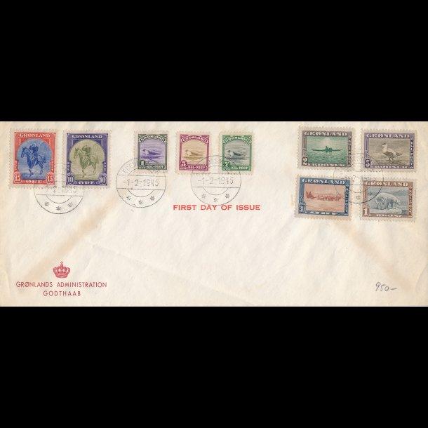 .8-16, Første dags kuvert, 1945, stemplet Egedsminde,