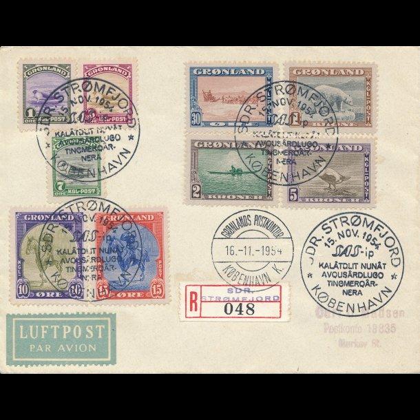 .8-16, ʘ, Amerikaner udgaven, Luftpostbrev stemplet Sdr. Strømfjord 1954,