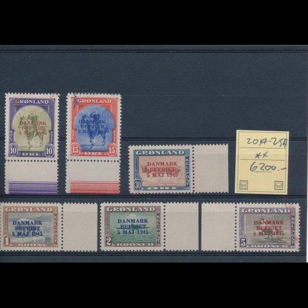 .20a-25a, **, Amerikaner udgaven med overtryk Danmark befriet 5 maj 1945, i ændret farve