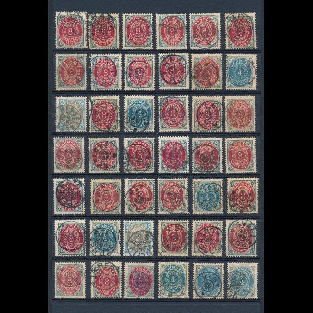 .22, 1875-,  frimærker,  Danmark, 42 stjernestempler, ʘ