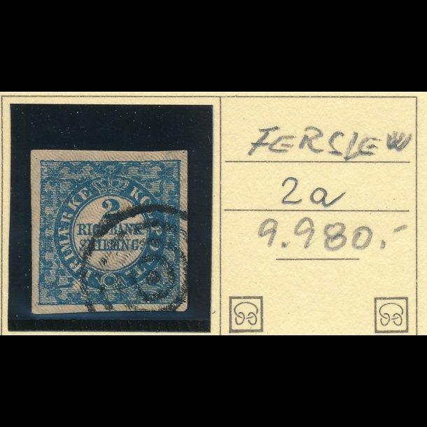 .2A, Danmark 1851, 2 rigsbank skilling, Ferslew, blå,