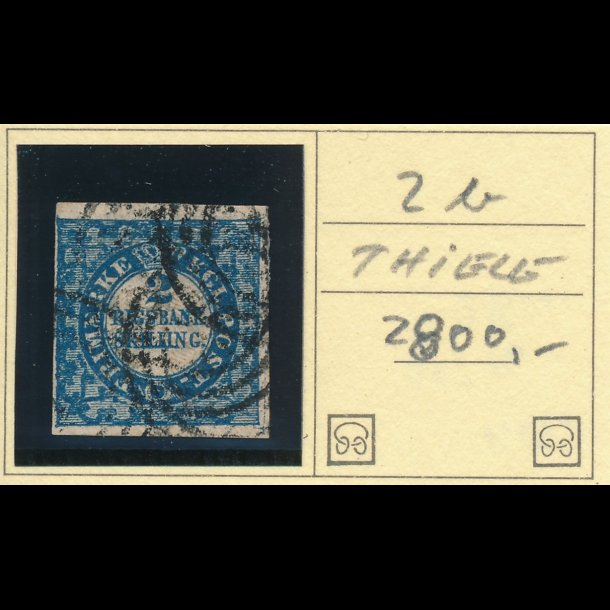.2B, Danmark 1851, 2 rigsbank skilling, Thiele, blå,
