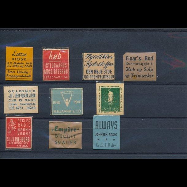 1941-45, Frimærkepenge, 1 øre, 10 forskellige, lbnr 8.