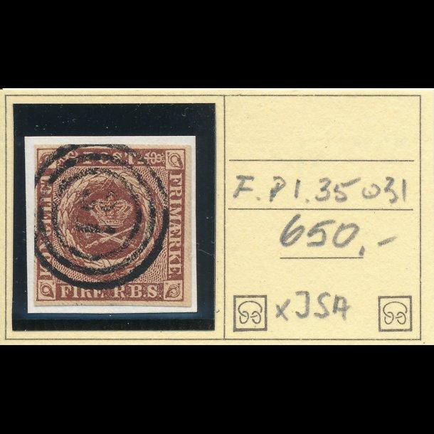 .1, Danmark 1851, 4 rigsbank skilling, Ferslew plade 1, nr 35, ʘ