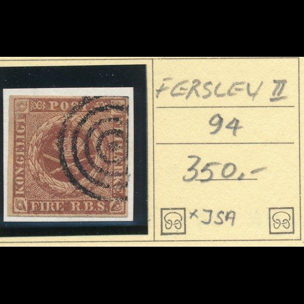 .1 Danmark 1851, 4 rigsbank skilling, Ferslew plade II, nr 94,