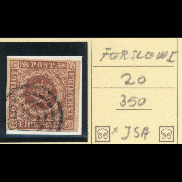 .1, Danmark 1851, 4 rigsbank skilling, Ferslew, plade I, nr 20,