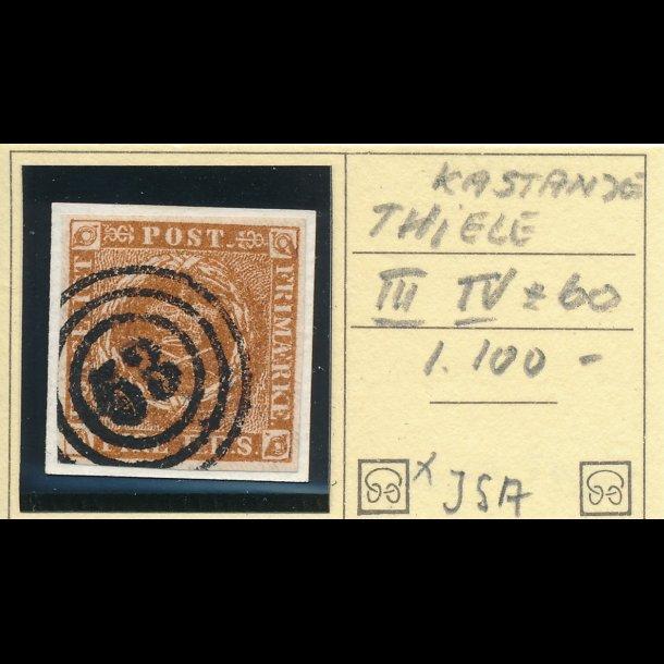.1 IIIe, Danmark 1854, 4 rigsbank skilling, Thiele III, plade IV, nr 60