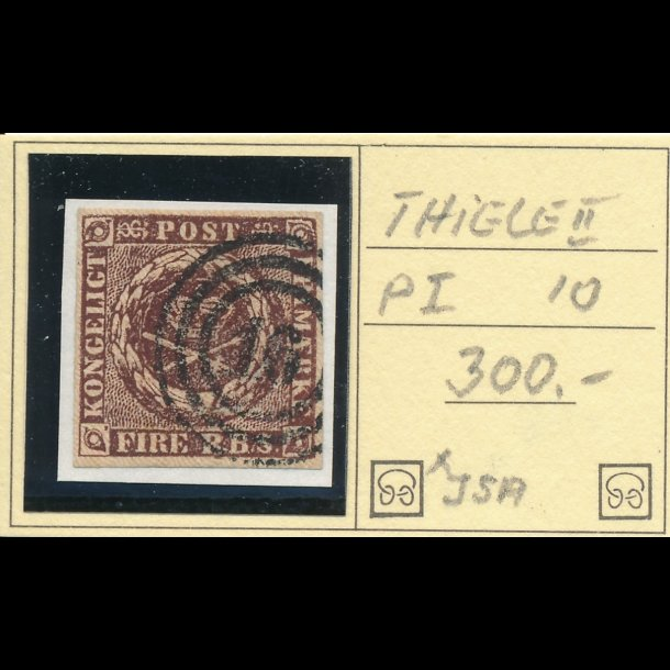 .1 IIb, Danmark 1853, 4 rigsbank skilling, Thiele II, plade I, nr 10