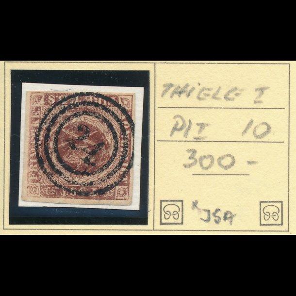 .1 Ia, Danmark 1852, 4 rigsbank skilling, Thiele I, plade I, nr 10