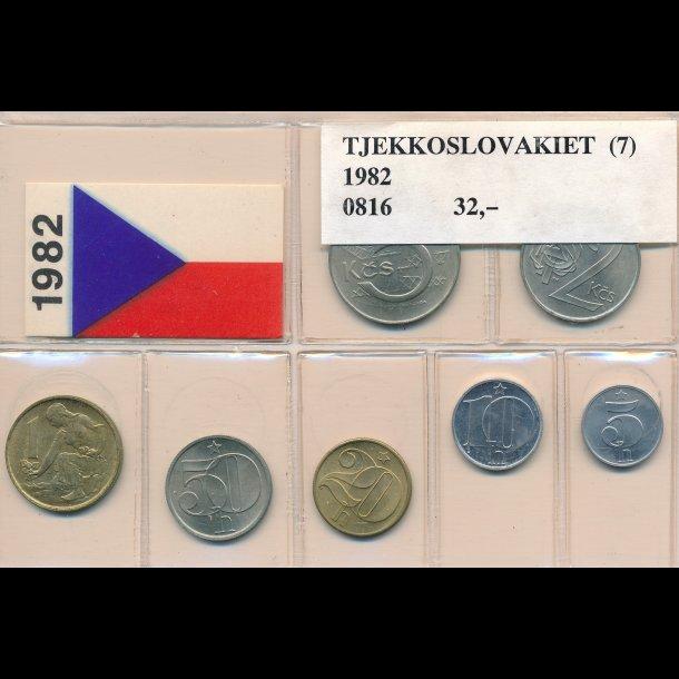 1982, Tjekkoslovakiet, årssæt, 5-,10-, 20- og 50 heller, 1-,2- og 5 korun, 0816