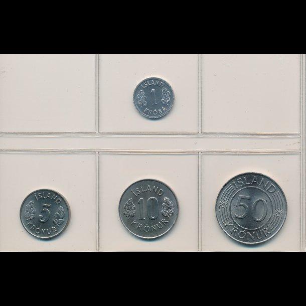 1980, Island, 1-,5-,10- og 50 kronur, 0824
