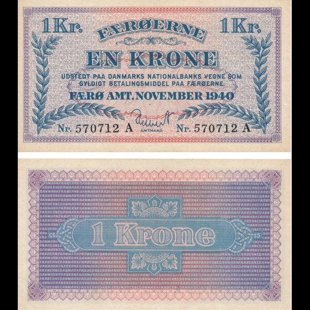 1940, Færøerne, 1 krone, 0, Sieg 15, Pick 9,