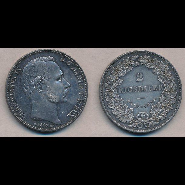 1868, Christian IX, 2 rigsdaler, 1+ / 01
