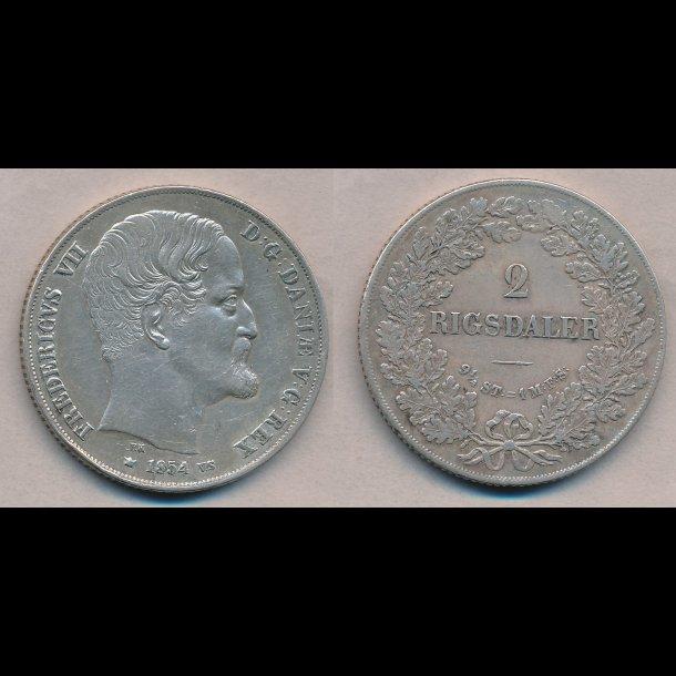 1854, Frederik VII, 2 Rigsdaler, VS, 1+