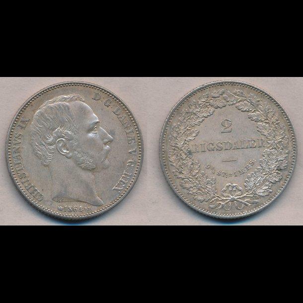 1864, Christian IX, 2 Rigsdaler, 1+,