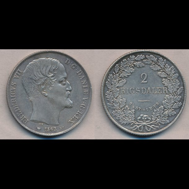 1863, Frederik VII, 2 Rigsdaler, RH, 01,