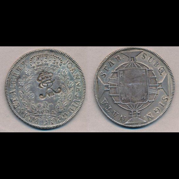 1818, Dansk Vestindien, Brasilien, Joao VI, 960 Reis, kontramarkeret med kronet Fr. VII, 1+, H 24,