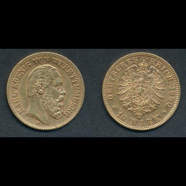 1880, Tyskland, Karl 1 af Württemberg, 10 mark, 1+