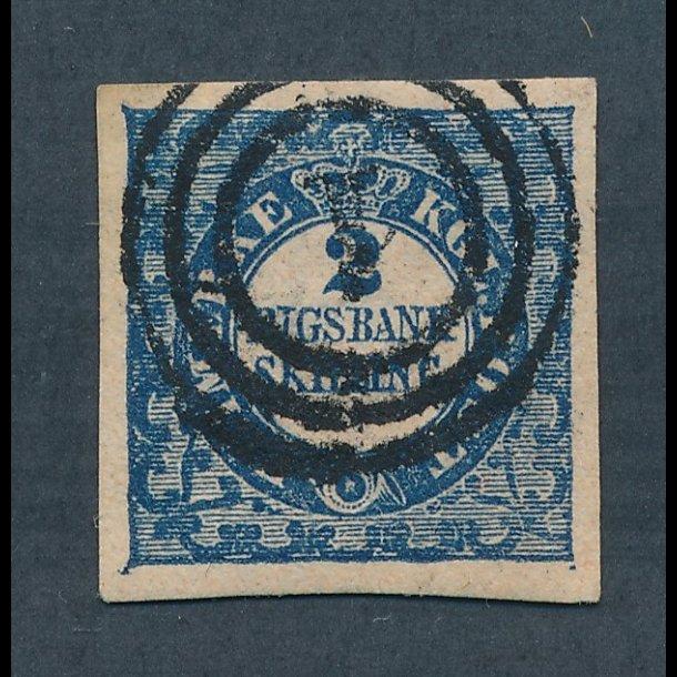 .2B, Danmark 1852, 2 rigsbank skilling, Thiele, blå,