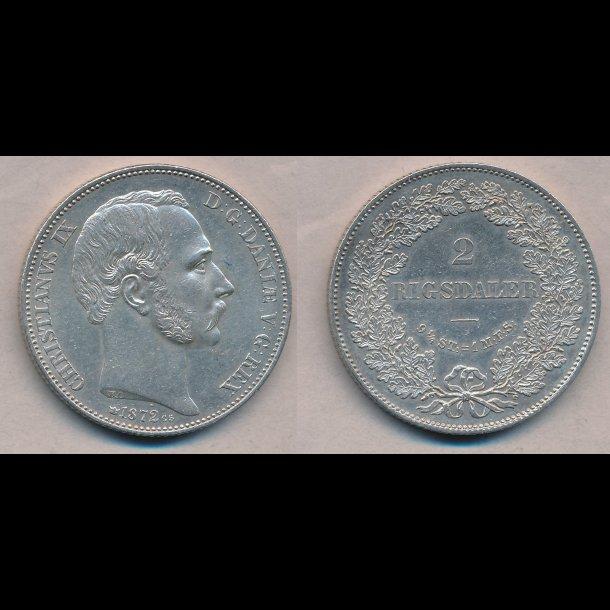 1872, Christian IX, 2 rigsdaler, 1+ / 01