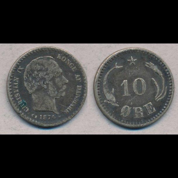 1874, Christian IX, 10 øre, sølv, 1 (+)