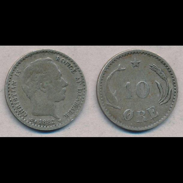 1882, Christian IX, 10 øre, sølv, 1 / 1-