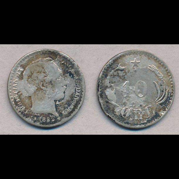 1882, Christian IX, 10 øre, sølv