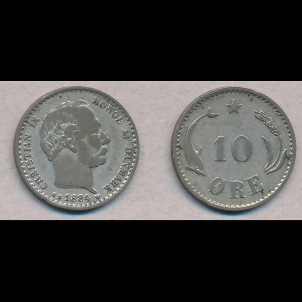 1884, Christian IX, 10 øre, sølv, 1