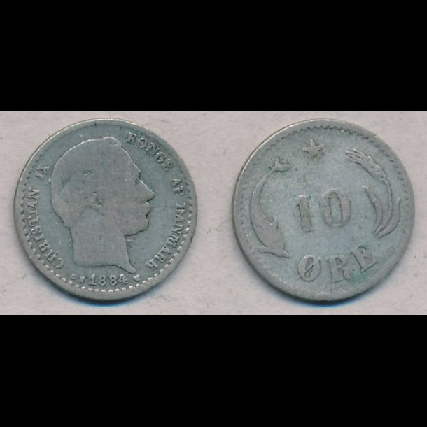 1884, Christian IX, 10 øre, sølv, 1 / 1-, lbnr 2