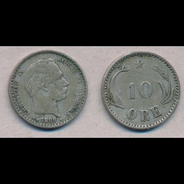 1889, Christian IX, 10 øre, sølv, 1 (+)