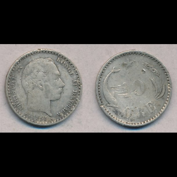 1891, Christian IX, 10 øre, sølv, -1