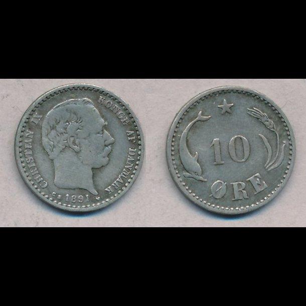 1891, Christian IX, 10 øre, sølv, 1