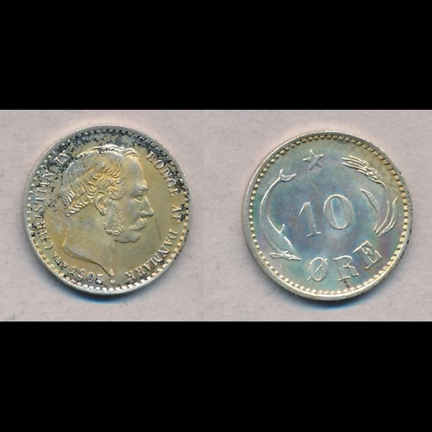 1905, Christian IX, 10 øre, sølv