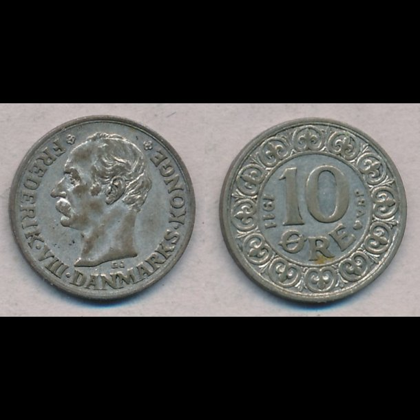 1911, Frederik VIII, 10 øre, sølv, 01
