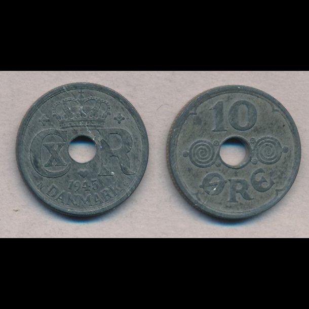 1945, 10 øre, zink, 1+