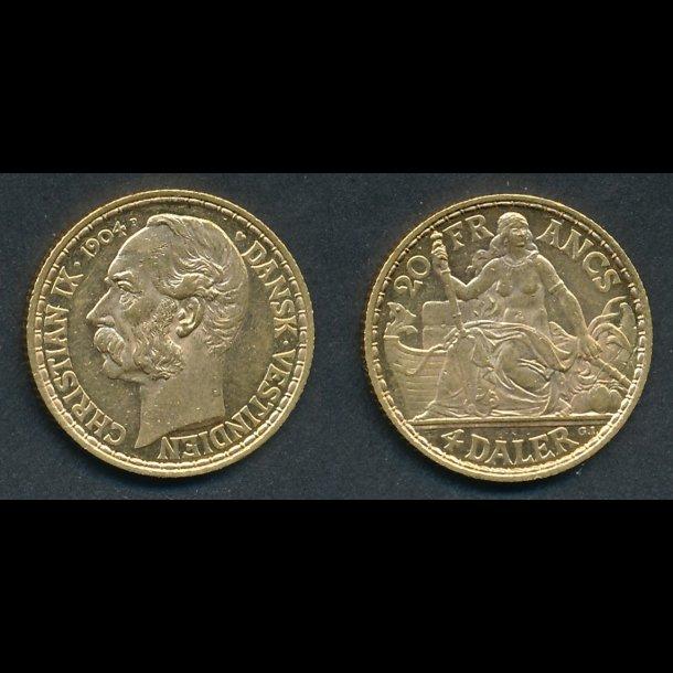 1904, Christian IX, 4 daler, Dansk Vest-Indien, 01