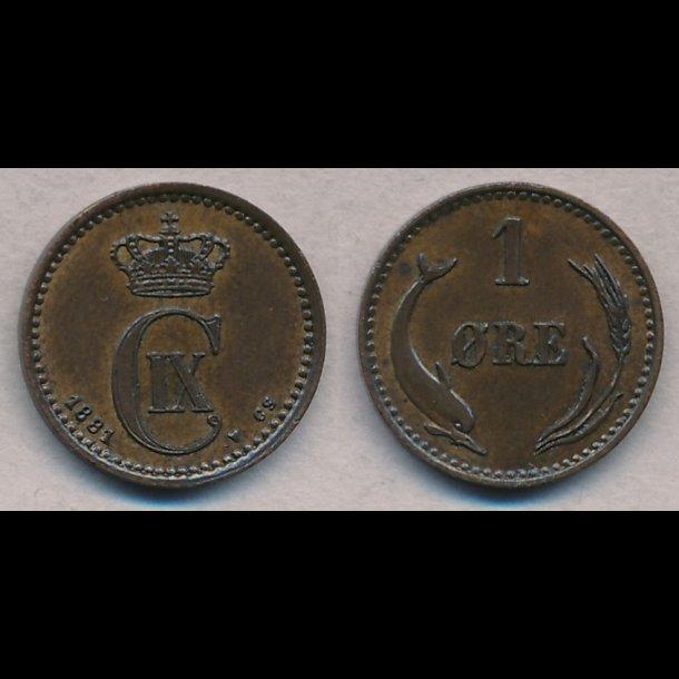 1881, Christian IX, 1 øre, 01