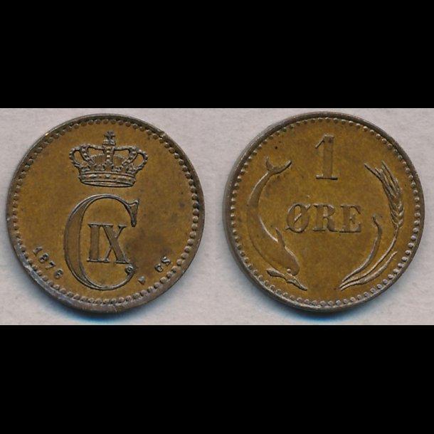 1876, Christian IX, 1 øre, 01 / 0