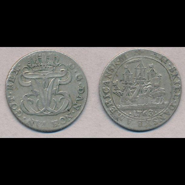 1763, Dansk Vestinden, Frederik V, 12 skilling, 1+, H5B,