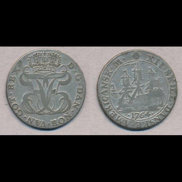 1764, Dansk Vestindien, Frederik V, 12 skilling, 1+ / 1, H5B,
