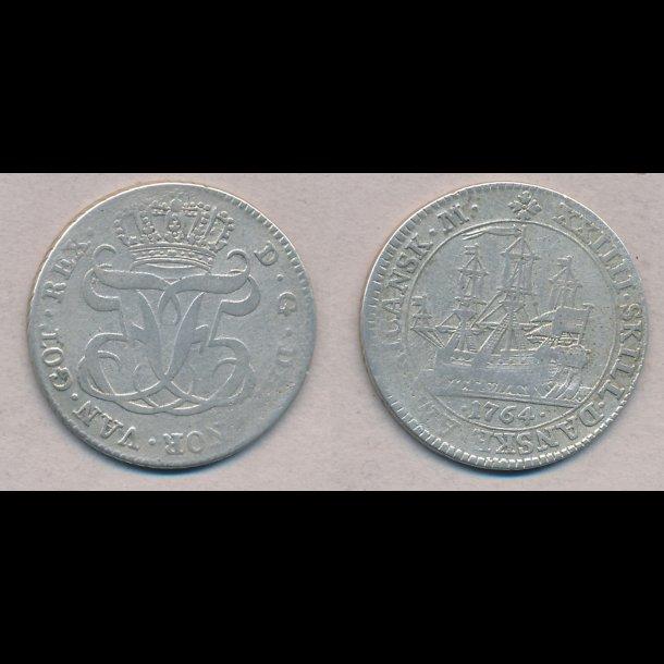 1764, Dansk Vestindien,  Frederik V, 24 skilling, 24 skilling, 1 (+), H6