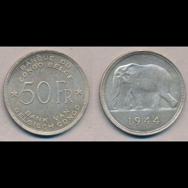 1944, Belgisk Congo, 50 franc, 0 / 01